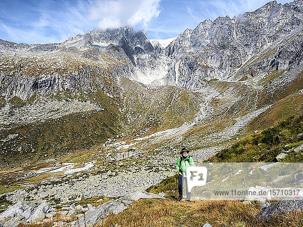 Italy  Brescia province  Adamello Alps  Val Salarno  Glacier  hiker