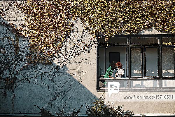 Zwei Geschäftsfrauen mit Smartphone stehen am Fenster eines Bürogebäudes