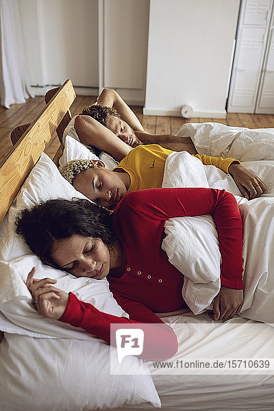 Three friends sleeping in bed at home