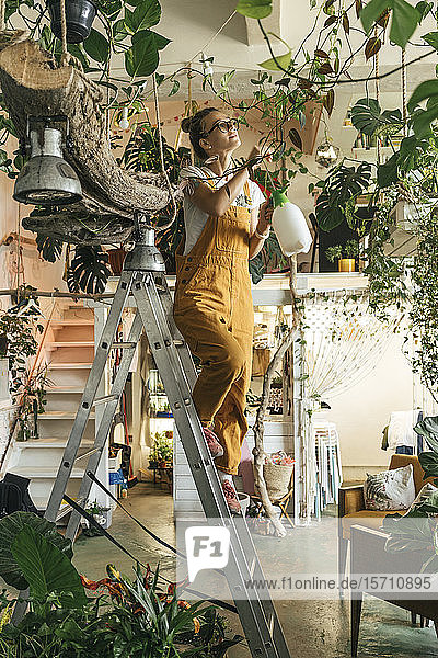 Young woman standing on a ladder caring for plants in a small shop