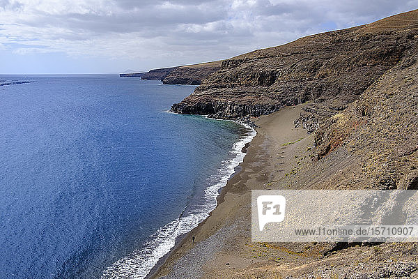 Spain  Canary Islands  Lanzarote Yaiza  High angle view of sandy beach Playa del Pozo