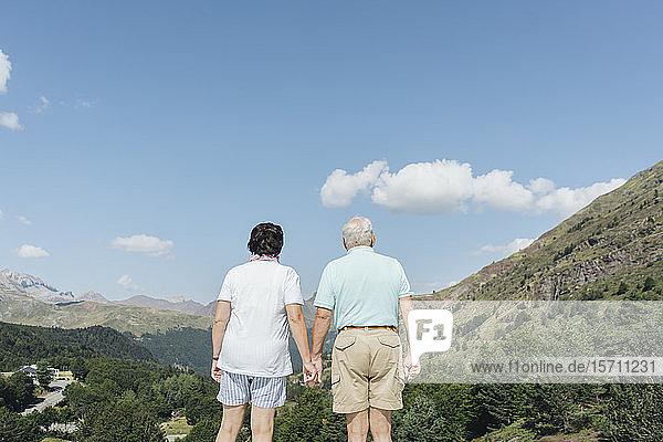 Rückansicht eines älteren Ehepaares  das die Ansicht Hand in Hand betrachtet  Jaca  Spanien
