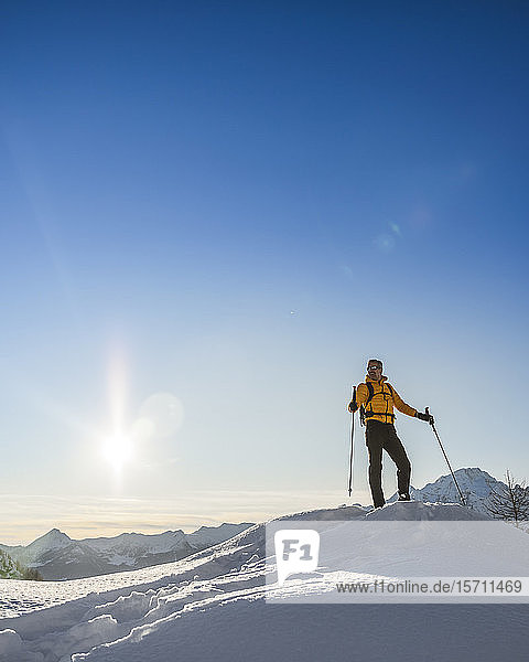 Hiking with snowshoes in the mountains  Valmalenco  Sondrio  Italy