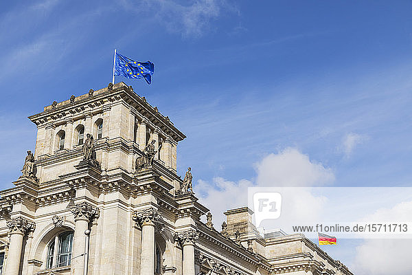 Germany  Berlin  European Union and German flags on top of Reichstag building