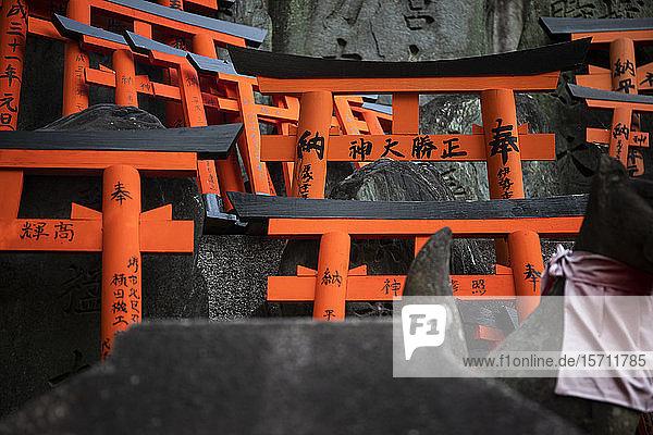 Japan  Präfektur Kyoto  Stadt Kyoto  Opfergaben im Fushimi Inari-taisha-Tempel
