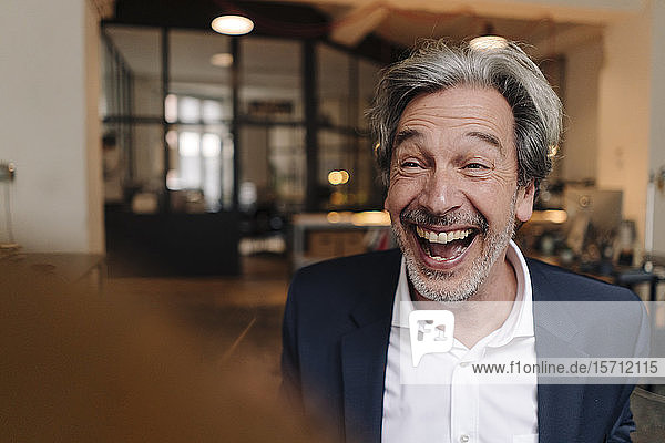 Portait of laughing senior businessman in office