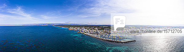 Spain  Mallorca  Aerial panorama of Can Picafort resort harbor in summer
