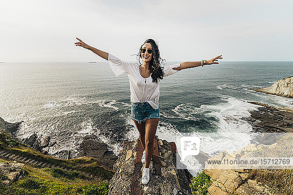 Young woman on viewpoint  Getxo  Spain