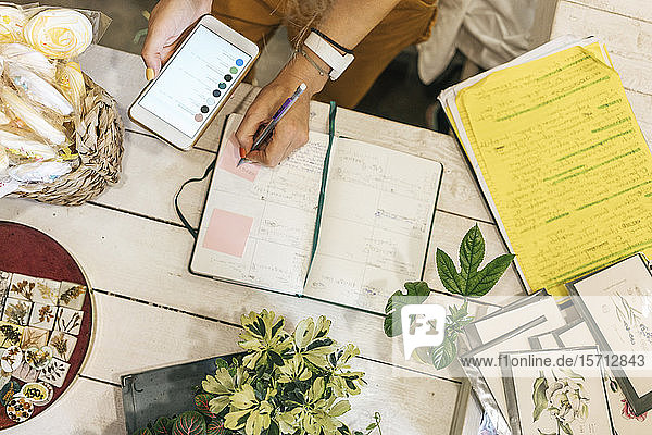 Top view of woman with smartphone taking notes in a small gardening shop