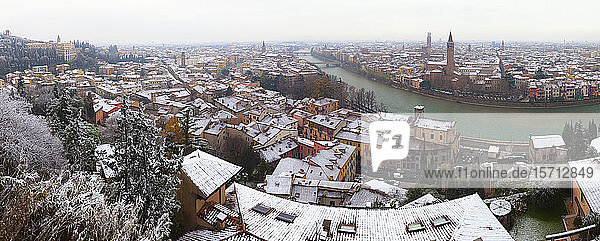 Italy  Verona  Panorama of riverside city in winter