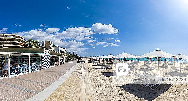 Spain  Mallorca  Camp de Mar  Rows of deckchairs and beach umbrellas along Playa de Palma in summer