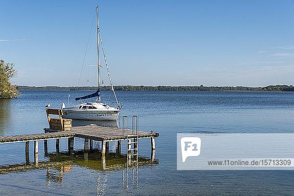 Germany  Mecklenburg-Western Pomerania  Zarrentin  Lauenburg Lakes Nature Park  Lake Schaalsee  sailing boat