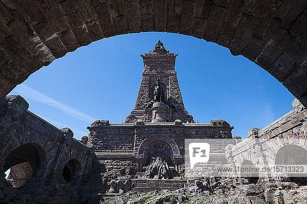 Germany  Thuringia  Kyffhaeuser Monument standing in ruined Kyffhaeuser Castle