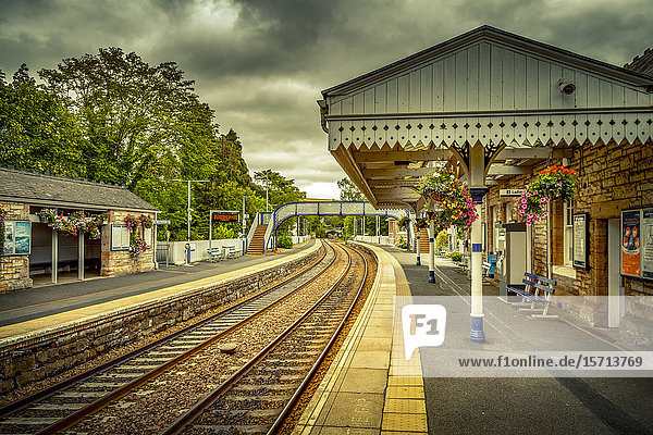 Railway station  Aberdour  Scotland  Europe