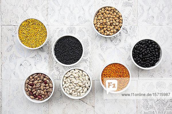 Verschiedene Hülsenfrüchte in Schalen: Kichererbsen  Cannellini-Bohnen  Wachtelbohnen  schwarze Bohnen  gelbe Linsen  rote Linsen  schwarze Linsen