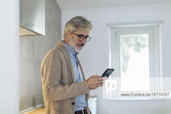 Erwachsener Mann benutzt Mobiltelefon in der Küche zu Hause Erwachsener Mann benutzt Mobiltelefon in der Küche zu Hause