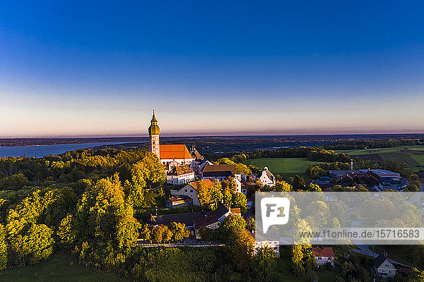 Germany  Bavaria  Upper Bavaria  Pfaffenwinkel  Ammersee  Andechs Abbey at sunrise