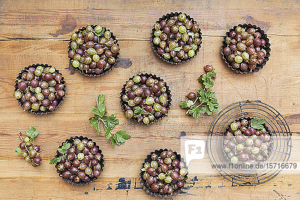 Baking pans with freshly harvested gooseberries on wooden table