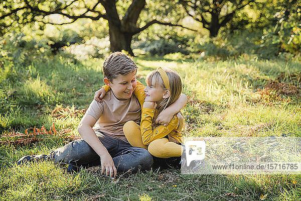Porträt eines glücklichen kleinen Mädchens Arm in Arm mit ihrem älteren Bruder auf einer Wiese