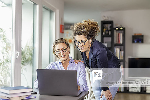 Two businesswomen with laptop on table at home