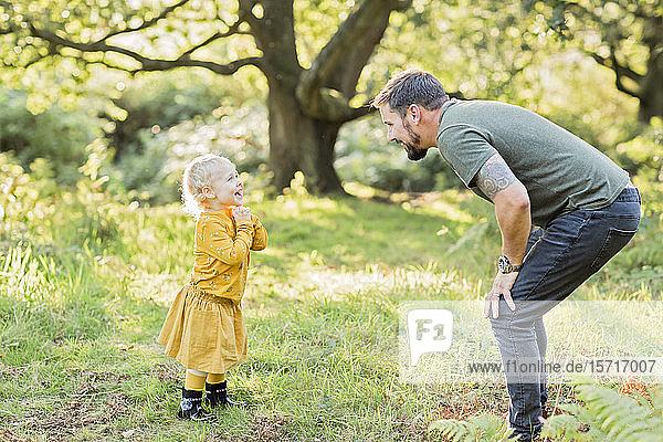 Vater und kleine Tochter zusammen auf einer Wiese
