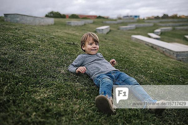 Portrait of smiling little boy lying on a meadow