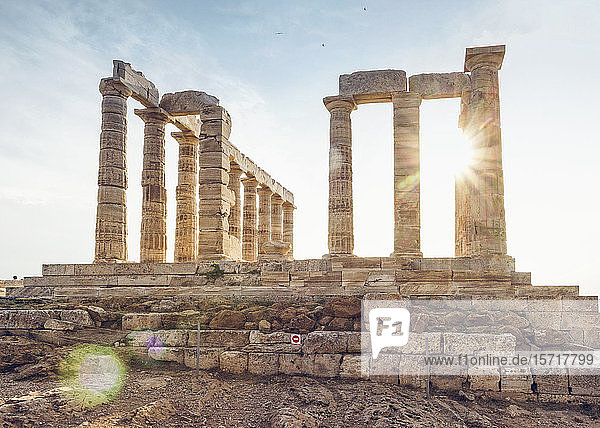 Antike Ruine des Poseidon-Tempels  Kap Sounion  Attika  Griechenland