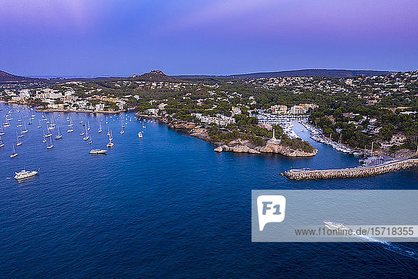 Spain  Balearic Islands  Mallorca  Calvia region  Aerial view over Costa de la Calma and Santa Ponca with hotels and beaches at sunset