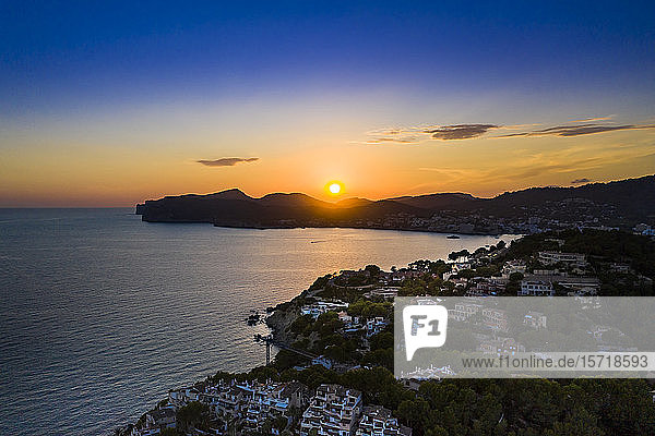 Spain  Mallorca  Santa Ponsa  Aerial view of coastal town at sunset