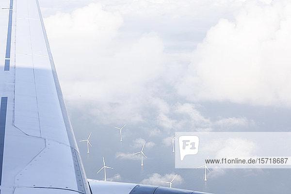 Schweden  Windpark Lillgrund vom darüber fliegenden Flugzeug aus gesehen