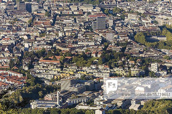 Switzerland  Canton of Zurich  Zurich  Wiedikon and Sihlfeld districts seen from Uetliberg