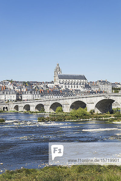 France Centre-ValdeLoire  Blois  Clear sky overPontJacques-Gabrielwith city in background