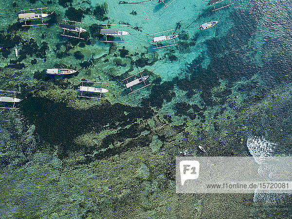 Indonesia  Bali  Aerial view of boats on sea near Lembongan island