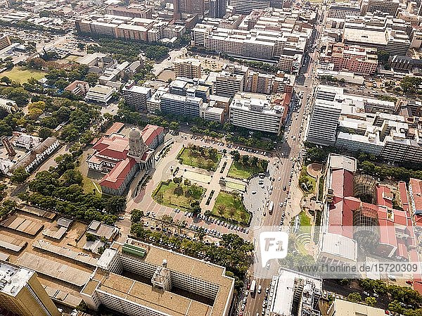 Aerial view of Tshwane city hall and Ditsong National Museum of Natural History  Pretoria  South Africa  Africa