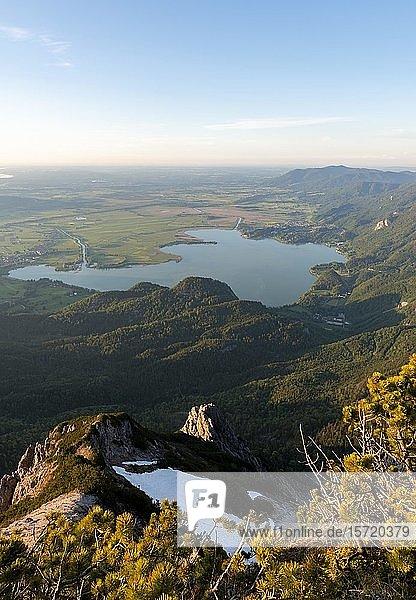 Ausblick vom Herzogstand auf Kochelsee und Alpenvorland  Oberbayern  Bayern  Deutschland  Europa