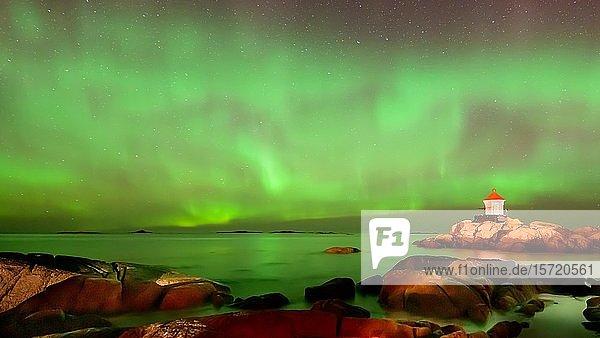 Nordlicht (Aurora borealis) über Leuchtturm  Polarlicht  Eggum  Vestvagoy  Lofoten  Norwegen  Europa