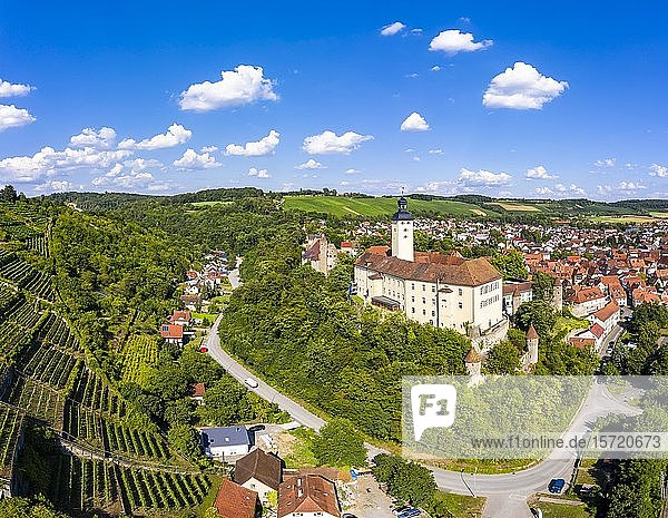 Luftaufnahme  Schloss Horneck  Burg des Deutschen Ordens  Gundelsheim  Odenwald  Baden-Württemberg  Deutschland  Europa