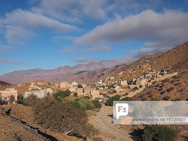 Dorf im Tal der Ammeln  Jebel El Kest  Antiatlas  Marokko  Afrika