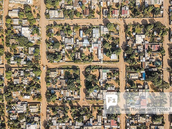 Aerial view of Matola  suburbs of Maputo  Mozambique  Africa