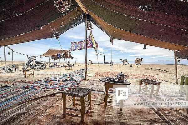 Inside of Bedoiun tent  Agafay desert  Morocco  Africa
