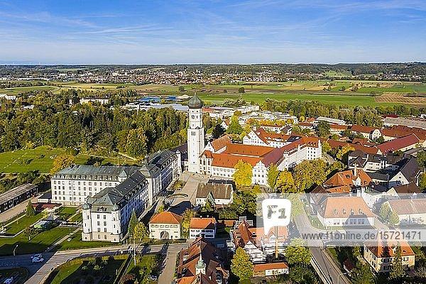 Luftaufnahme  Klosterkirche und Kloster Ursberg  Ursberg  Bayern  Deutschland  Europa