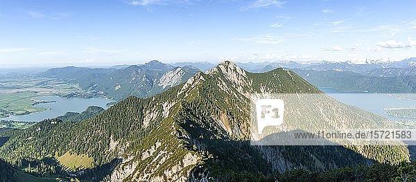 Ausblick auf Kochelsee  Herzogstand und Walchensee  Alpen  Oberbayern  Bayern  Deutschland  Europa