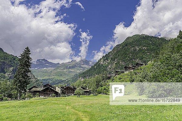 Alte Walserhäuser im Ort Pedemonte  Alagna Valsesia  Provinz Vercelli  Piemont  Italien  Europa