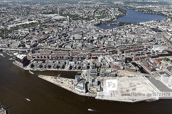 Speicherstadt und Hafencity  Altstadt  Hamburg  Deutschland  Europa