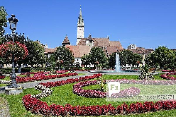 Hinten schiefer Trompeterturm der Margarethenkirche  König-Ferdinand-Platz  Medias  Siebenbürgen  Rumänien  Europa