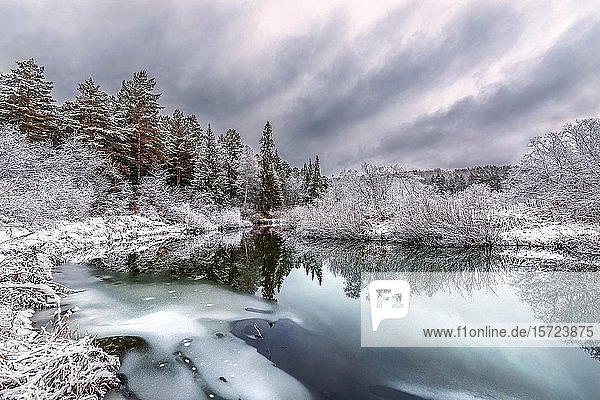 A cooling river with the first snow on the shore on a cold day of late autumn.