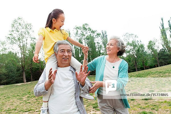 Older couples with a granddaughter picnic in the park