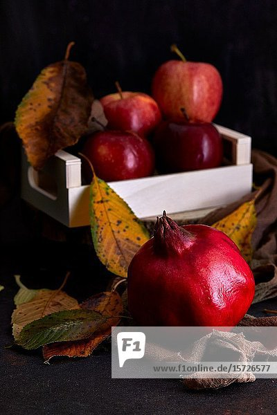 Autumnal still life with pomegranate and apples.