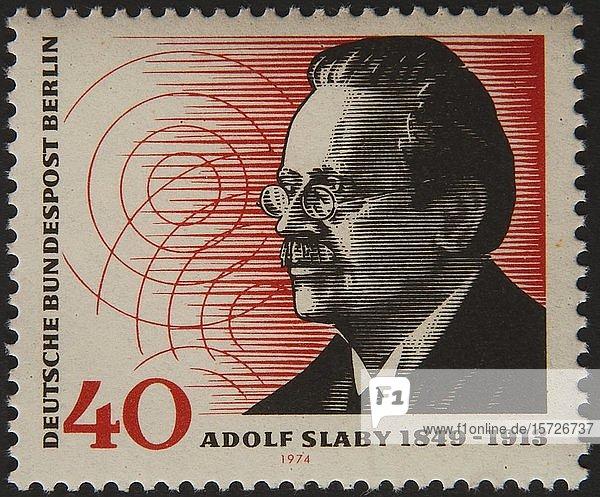 Deutsche Briefmarke mit Adolf Slaby  einem deutschen Physiker und Pionier der deutschen drahtlosen Telegrafie  Schweden  Europa