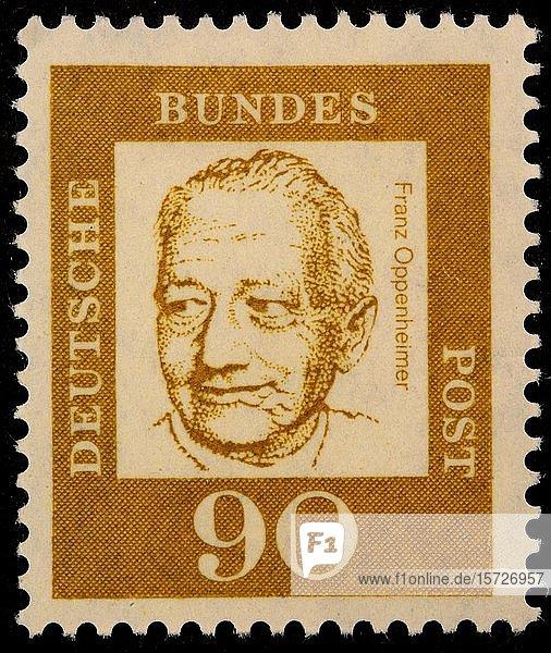 Deutsche Briefmarke  Portrait von Franz Oppenheimer  deutscher Soziologe und Volkswirt  Schweden  Europa